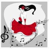 Flicka i rött Arkivfoto