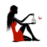 Flicka i rött Arkivbild