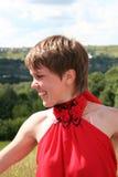 Flicka i rött Royaltyfria Foton