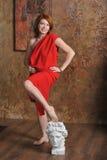 Flicka i rött Royaltyfria Bilder