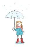 Flicka i regnet med paraplyet Arkivbild