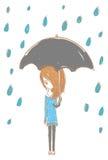 Flicka i regnet med stilfull design vektor illustrationer
