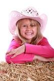 flicka i rosa cowboyhatt royaltyfri foto