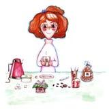 Flicka i rosa tröja med rött hår med koppen kaffe i hand på illustration för blomma för kaka för tabellkokkärlsocker av vattenfär vektor illustrationer