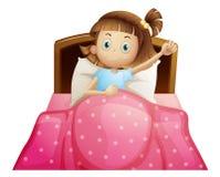 Flicka i säng vektor illustrationer