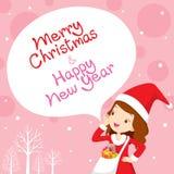 Flicka i Santa Costume Shouting, rosa bakgrund Fotografering för Bildbyråer