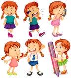 Flicka i sex olika handlingar royaltyfri illustrationer