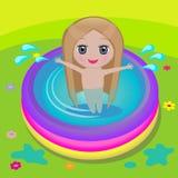 Flicka i simbassäng Royaltyfria Foton