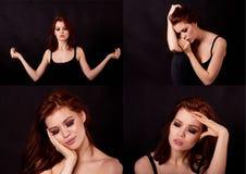 Flicka i studio på en svart bakgrund Rött hår, stort diagram collage Nätta flickor för emotionellt tillstånd fotografering för bildbyråer