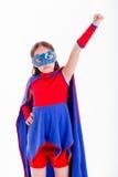 Flicka i superherodräkt Arkivbild