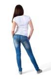 Flicka i t-skjorta modell fotografering för bildbyråer