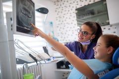 Flicka i tand- stol som visar till tandläkaren hennes tand på tand- x-rommar Fotografering för Bildbyråer
