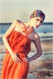 Flicka i turban Royaltyfri Fotografi