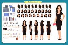 Flicka i uppsättning för skapelse för tecken för aftonklänning Partikvinna i svart moderiktig lyxig kappa Full längd vektor illustrationer