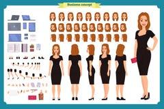 Flicka i uppsättning för skapelse för tecken för aftonklänning Partikvinna i svart moderiktig lyxig kappa Full längd royaltyfri illustrationer