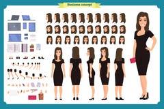 Flicka i uppsättning för skapelse för tecken för aftonklänning Partikvinna i svart moderiktig lyxig kappa Full längd Design stock illustrationer