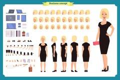 Flicka i uppsättning för skapelse för tecken för aftonklänning Partikvinna i svart moderiktig lyxig kappa Full längd Design royaltyfri illustrationer