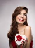 Flicka i valentindag Arkivfoton