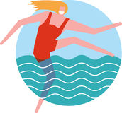 Flicka i vattnet stock illustrationer