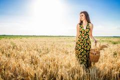 Flicka i vetefält Flickan häller mjölkar in i ett exponeringsglas arkivfoton