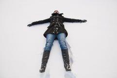 Flicka i vinter Fotografering för Bildbyråer