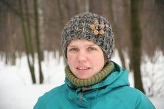 Flicka i vinter Arkivfoto