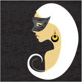 flicka illustrerad maskering stock illustrationer