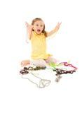 flicka isolerad juvel som little skrattar white royaltyfri foto