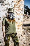 flicka isolerad militär white Royaltyfria Bilder