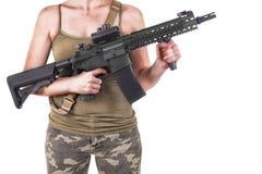 flicka isolerad militär white Arkivbild