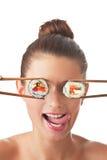 flicka isolerade sushi Royaltyfri Foto