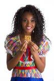 Flicka klädd brasiliansk fjant royaltyfri fotografi
