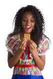 Flicka klädd brasiliansk fjant arkivfoto