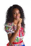 Flicka klädd brasiliansk fjant arkivfoton