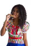 Flicka klädd brasiliansk fjant arkivbilder