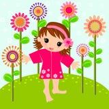flicka little äng Arkivbild