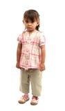 flicka little över white Arkivbild