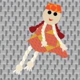flicka little docka vektor illustrationer