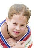flicka little handduk royaltyfria bilder