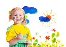 flicka little målarfärg Arkivbild