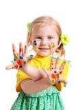 flicka little målarfärg Arkivfoton