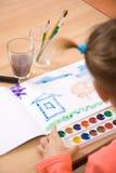 flicka little målarfärgvattenfärg Royaltyfri Bild