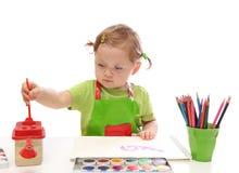 flicka little målning Royaltyfri Foto