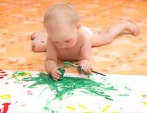 flicka little målning arkivbilder