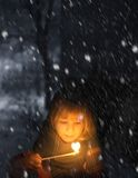 flicka little matchstick royaltyfri bild