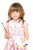 flicka little palett fotografering för bildbyråer