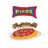 flicka little pizza stock illustrationer