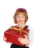 flicka little present Royaltyfri Foto