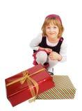flicka little present Fotografering för Bildbyråer