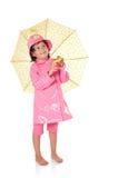 flicka little raincoatparaply arkivfoton